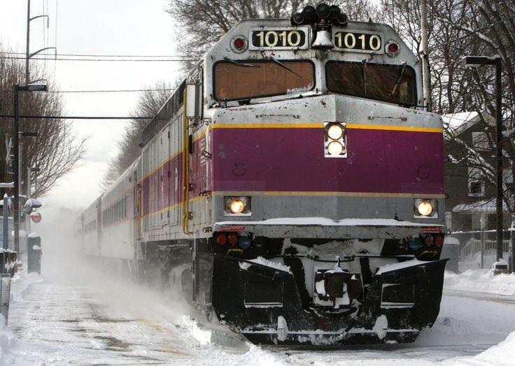 Massachusetts Bay Transportation Authority (MBTA) train during winter in Boston Massachusetts