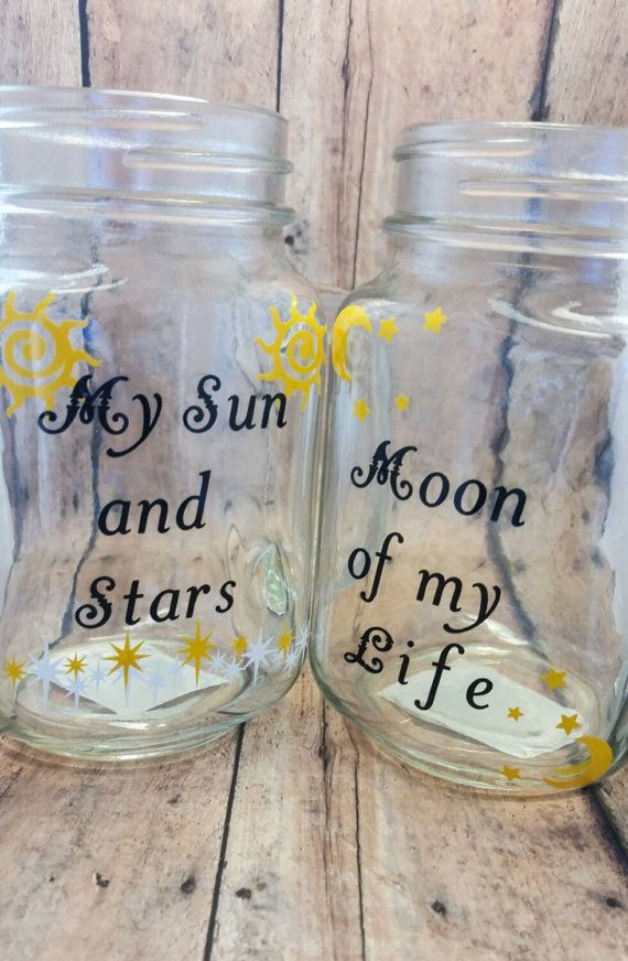 Game of Thrones Mug, Mason Jar Cup, Quote Mug, My Sun and Stars, Moon of my Life, Khal Drogo Khaleesi Daenerys Targaryen two sided Mason Jar