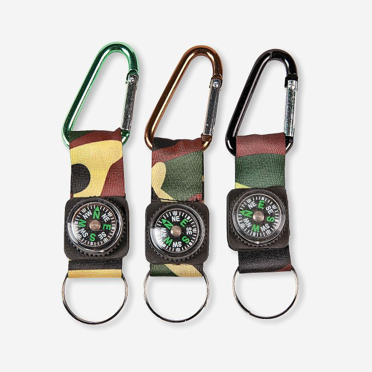 Small Oriental Trading Company Toys : Camouflage army belt clip toy compass key chains