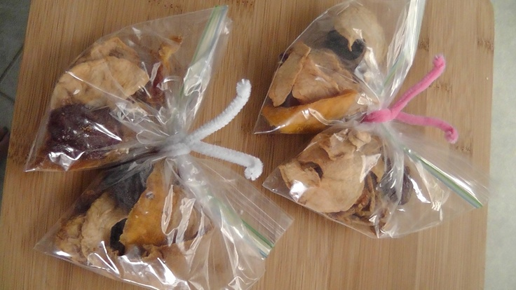 such a cute idea... dried fruit in baggies turned into butterflies.  My kids would love these for a snack!!