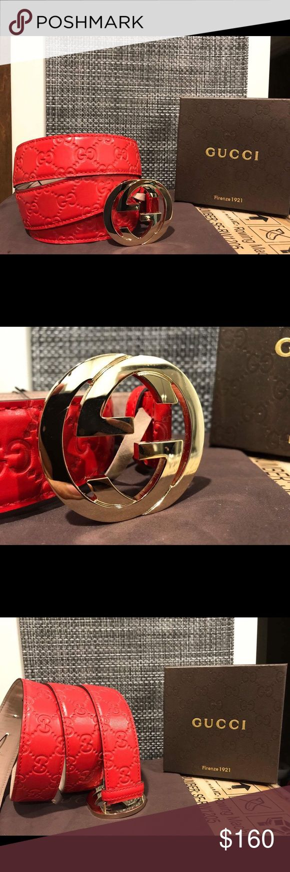 Authentic Mens Red Guccisima Gucci Belt 100% percent authentic mens Gucci belt!  Made in Italy. Comes with box dust bag and tags. Bundles save you money.  Ships in 1-2 business days. Gucci Accessories Belts
