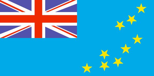 Tuvalu Flag ~ The flag of Tuvalu was officially adopted on October 1, 1978.           The Union Jack (upper left) reflects Tuvalu's long association with Great Britain. The nine gold stars are symbolic of the nine islands within its borders.