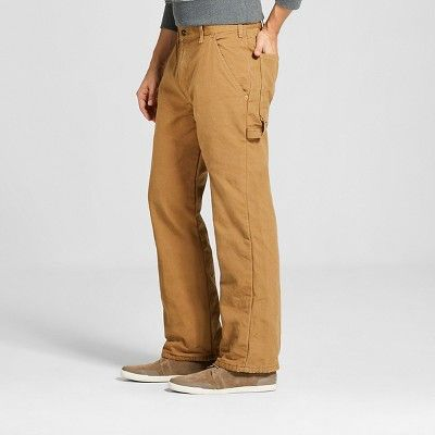 Dickies Men's Relaxed Straight Fit Canvas Flannel-Lined Carpenter Jean- Brown Duck 32x32