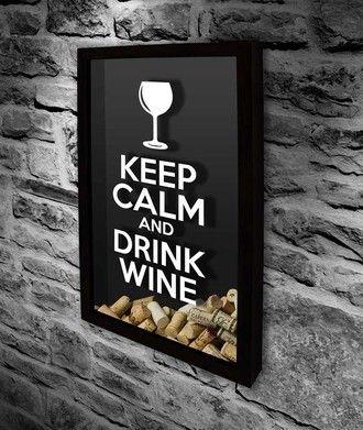 Quadro para Rolhas - Keep Calm and drink Wine - 3 tamanhos