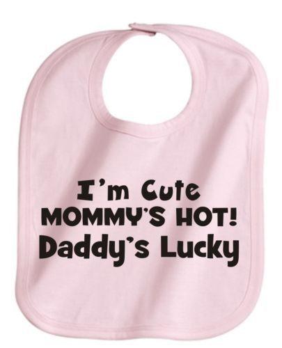 IM CUTE MOMMYS HOT DADDYS LUCKY CUTE CUSTOM PINK BABY GIRL BIB NEW | KoolKidzClothing - Clothing on ArtFire