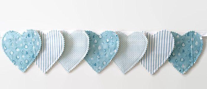 Blue love hearts Baby shower gift idea Heart garland Heart bunting