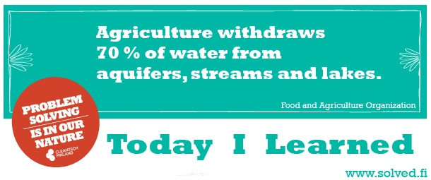 Agriculture withdraws 70 % of water from aquifers, streams and lakes.