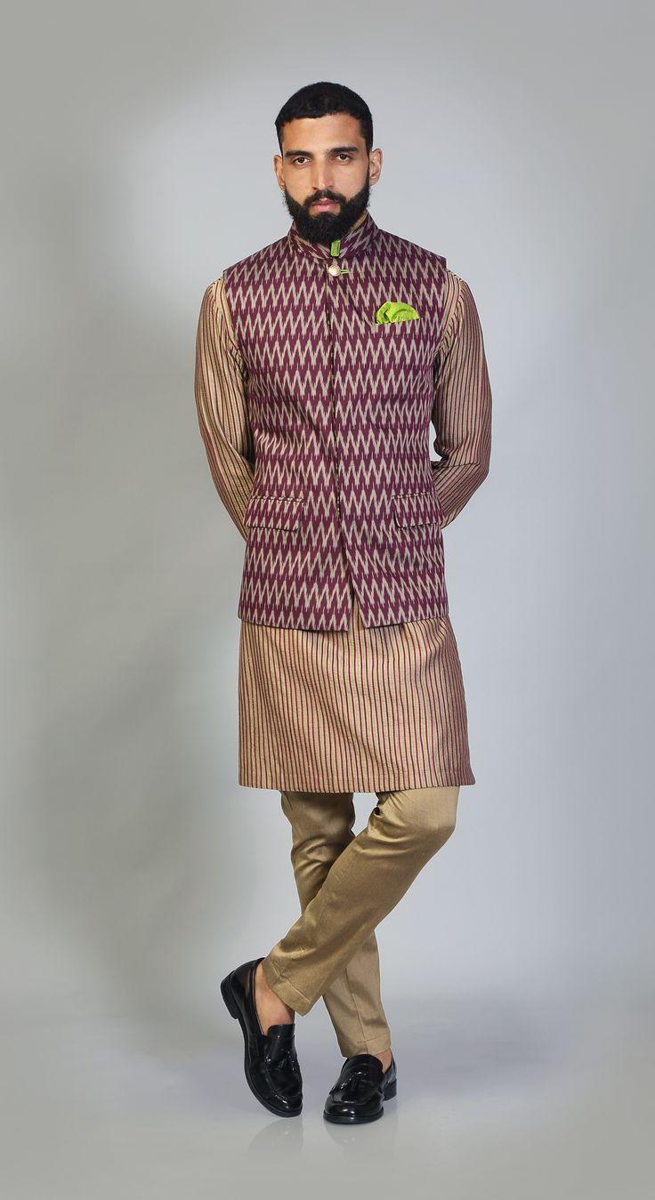 Ikat #winecolor #stripedkurta #sadri #aligarhipants #ethnic #traditions #culture