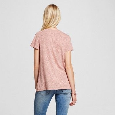 Women's Short Sleeve Relaxed V-Neck Tee Pink Heather XS - Mossimo Supply Co., Durable
