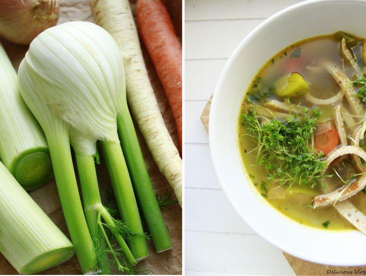 Delicious blog: Zeleninový vývar s pohankovými palačinkovými nudlemi