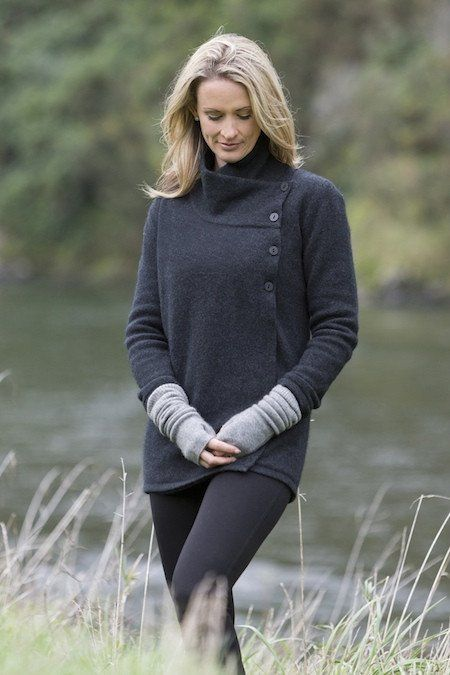 POSSUM MERINO ASYMMETRIC JACKET  Made from the luxury blend of Possum Fibre, Super Fine Merino and Silk. Beautifully soft and warm. Very versatile as can be worn several different ways: buttoned up for warmth, as a soft cowl or stylishly undone. Made in New Zealand.