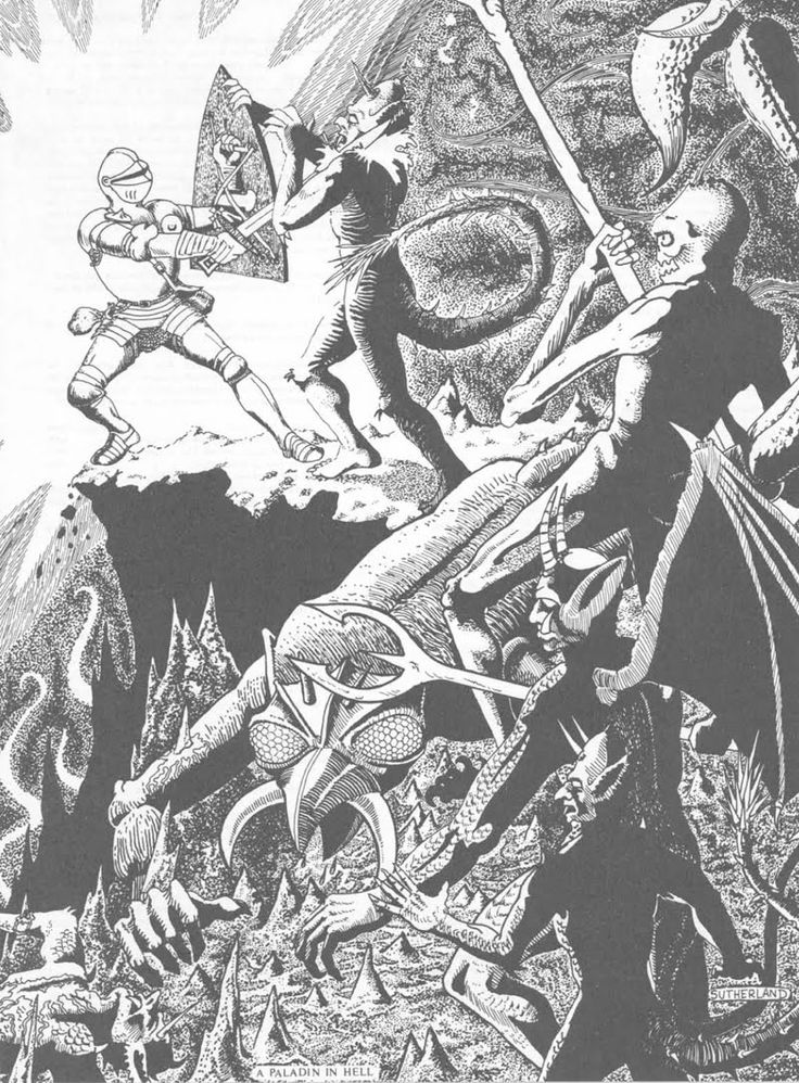 A Paladin In Hell From The Players Handbook. Pretty sure this was also the image associated with the +5 Holy Avenger.