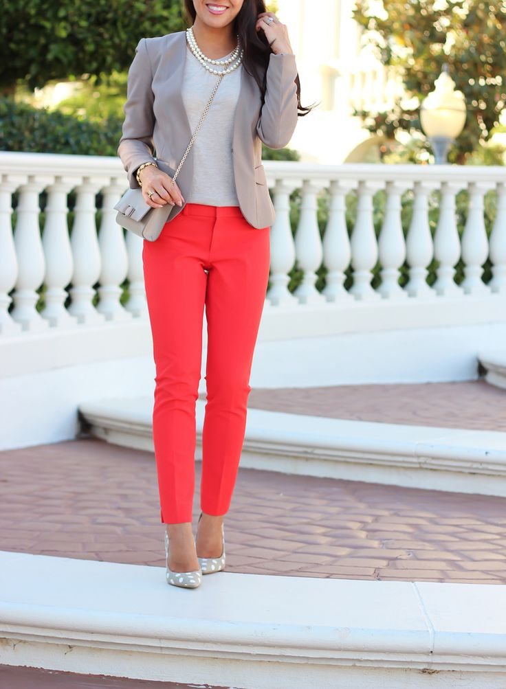 Petite work outfits :: Stylish Petite :: Red Pants and Neutrals