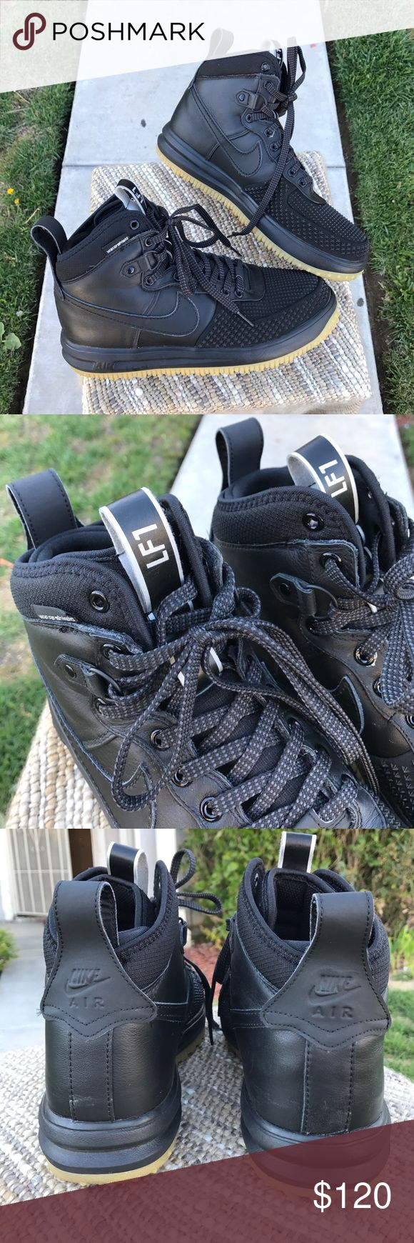 Nike Lunar force 1 Duck boot Black A clean pair of Nike Lunar force 1s ( Duck Boot) / black color / EUC / no rips or heavy stains / pics show all detail / a few marks from moving around / no defects just have two pairs I purchased / might have been returns / Nike Shoes Sneakers