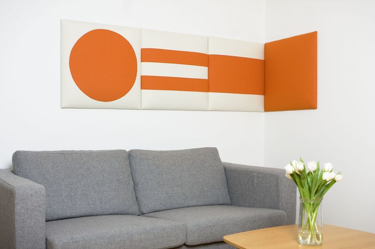 Living spaces made more livable with attractive, and effective, noise reduction panels by Acoustics With Design. #AcousticPanels #InteriorDesign #Orange