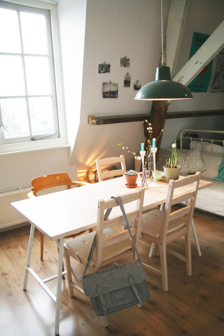 Another small space dining with folding chairs