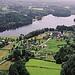 Une vue aérienne sur le lac de Séchemailles... le lac de votre Village de Vacances...