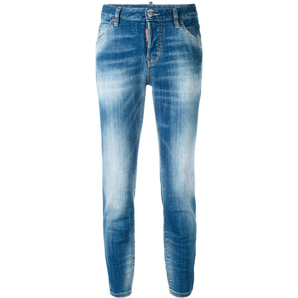 Dsquared2 light-wash jeans ($525) ❤ liked on Polyvore featuring jeans, blue, waistband jeans, dsquared2, acid wash jeans, light blue jeans and button-fly jeans
