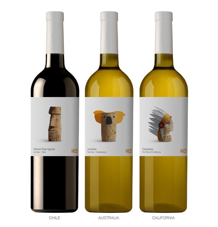 Wines by Belgian Supermarket Chain Delhaize: Nice Packaging, Bottle Labels, Corks Art, Wine Packaging, Wine Labels, Packaging Design, Bottle Packaging, Wine Bottle, Labels Design