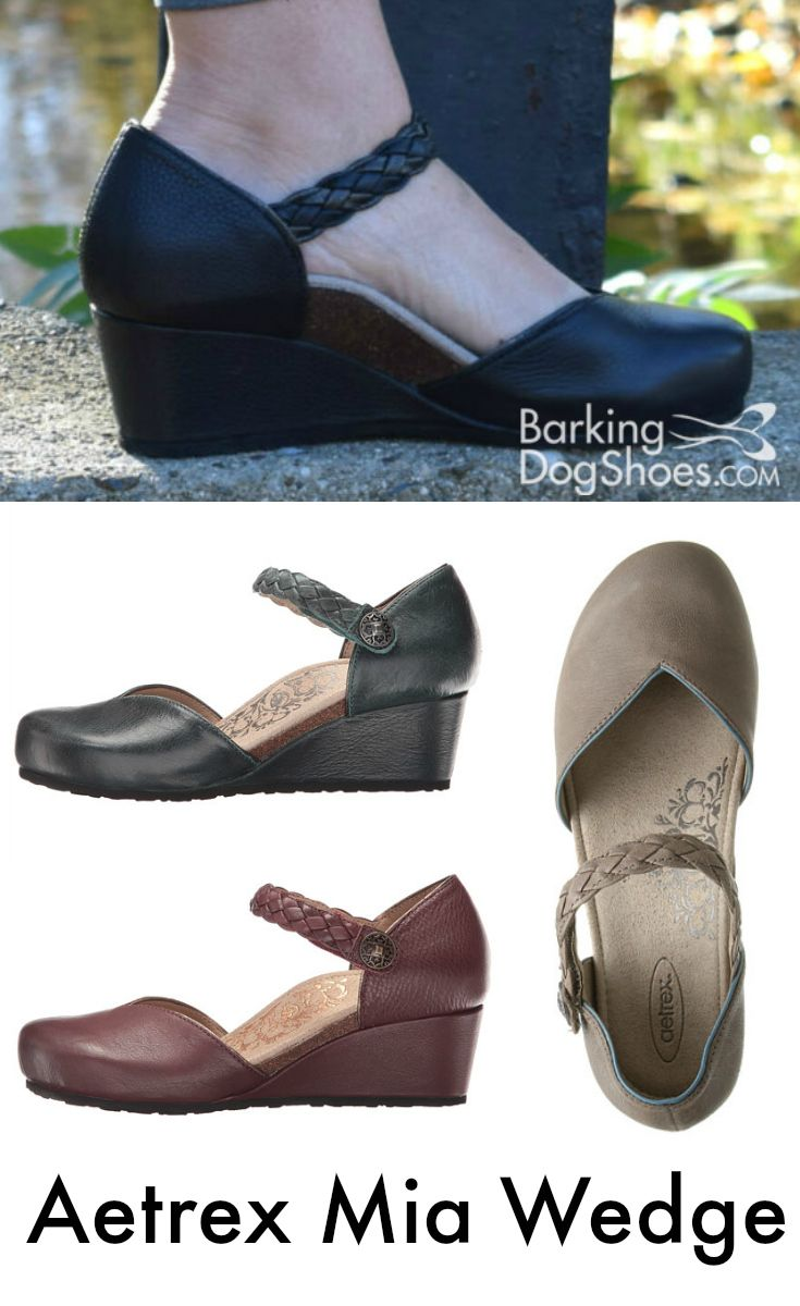 A wedge heel with arch support and a roomy toe box. Aetrex Mia. Read Kirsten's review!