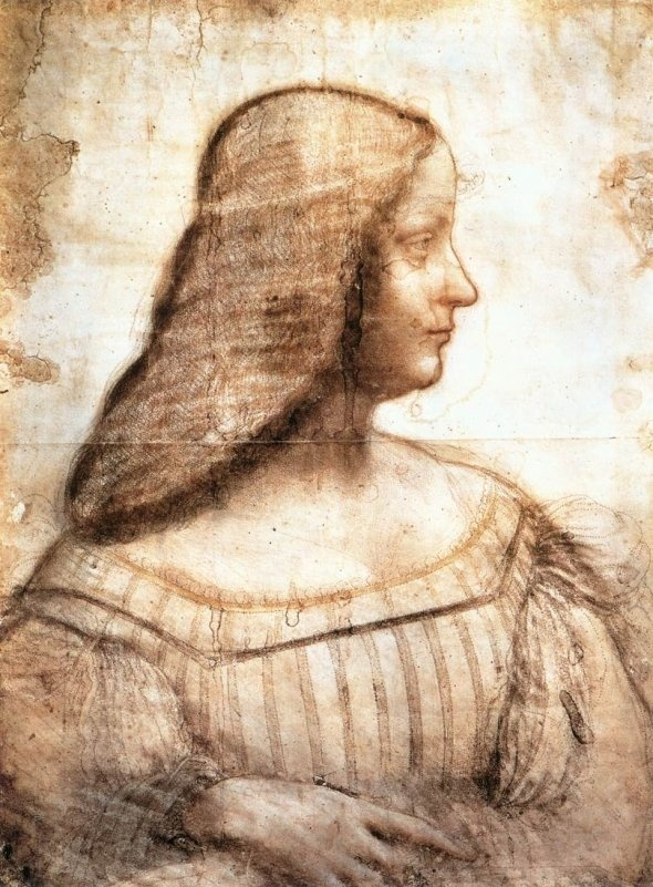 Leonardo da Vinci (1452-1519) ~ A Portrait of Isabella d'Este-Gonzaga ~ now in the Louvre in Paris, as sketched by da Vinci and seemingly manipulated by later hands.  It is still considered by many as the only authentic portrait of Isabella.
