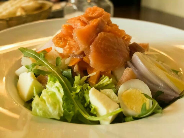 Nordic salad with marinated salmon