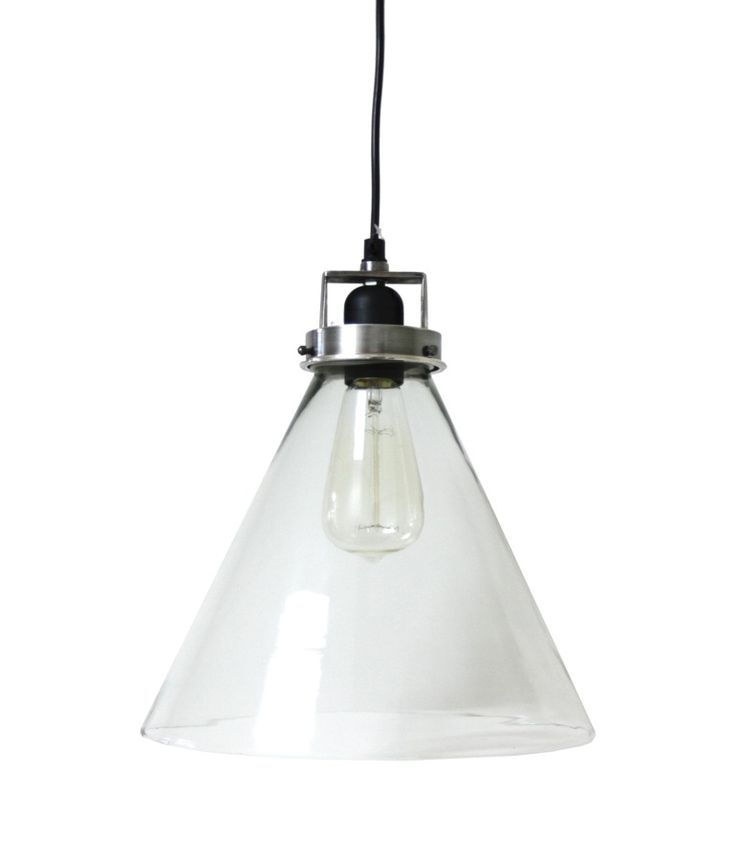 Brushed Pewter Finish Hanging Glass Lamp : Maybe over kitchen island (simple)