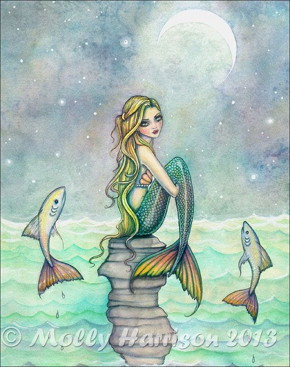 Peaceful Sea 12 x 16 Mermaid Fantasy Watercolor Fine Art Print by Molly Harrison