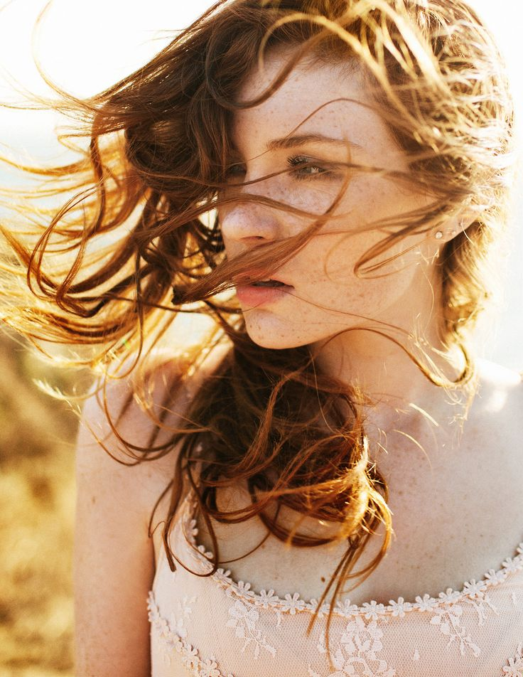 Wind. Sun. Hair. Portrait. Inspiration. Woman. Young.  Breeze. Red hair. Freckles