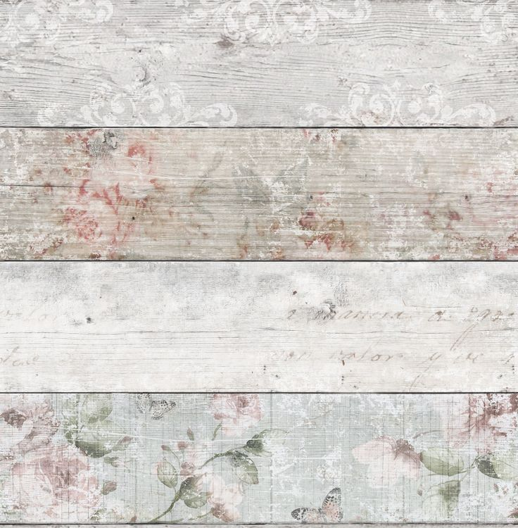 Grey & Pink Distressed Floral Wood Flat Wallpaper | Departments | DIY at B&Q