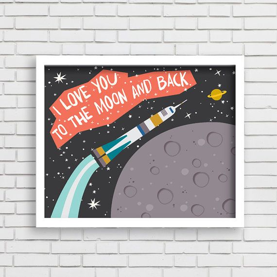 Baby Nusery Decor Art Print Rocket Design - Love You to the Moon and Back - 8x10 or 11x14