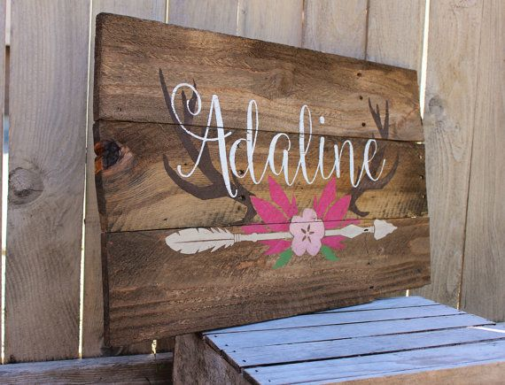 This custom designed Nursery Name Monogram sign is a great piece for any rustic , boho, shabby chic, or woodland nursery. I custom design each piece for each family. This sign is also the perfect baby shower gift! These are completely hand painted by me on reclaimed materials. Since the materials are reclaimed they vary slightly in size and have different levels of distressing to the wood. This causes the wood to take the stain differently so no two are ever the same. They vary in size…