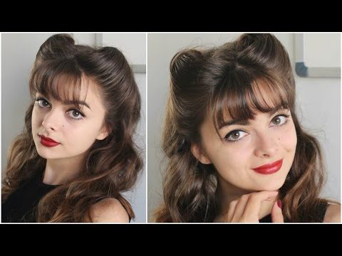 Pin Up Hairstyle | Bangs & Victory Rolls | Tutorial - YouTube