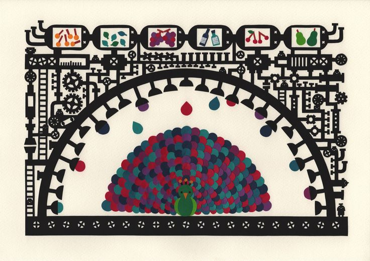 """""""Factory of the Peacock"""" Paper cutting by chihiro takeuchi"""
