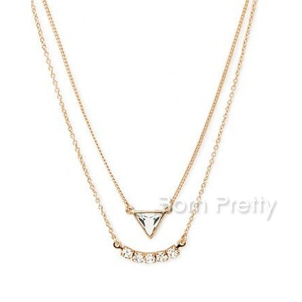 $3.51 Double-deck Rhinestone Necklace Fashionable Extremely Thin Necklace - BornPrettyStore.com