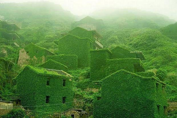 Vilarejo abandonado está coberto de plantas e musgos