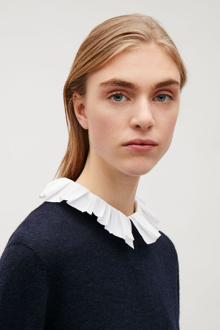 COS image 3 of Mock shirt with pleated collar in White