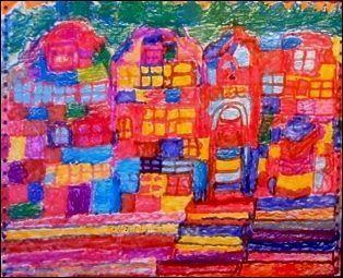 """""""Benjamin Bonjour travaille sur des supports récupérés (prospectus, enveloppes, cartons de boîtes de chocolat, papier d'ordinateur), avec des crayons ou des feutres de couleur, œuvrant par séries sur des thèmes simples : fleurs, arbres, paysages, montagnes, églises. Il représente son errance de village en village."""" abcd-art-brut.net"""