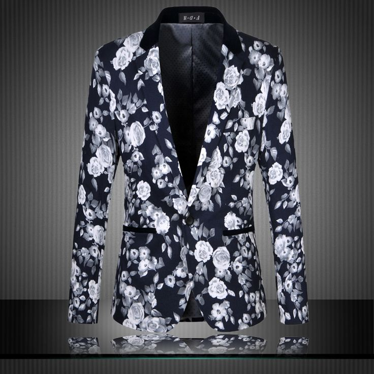 Brand Men Floral Blazers 2015 New Fashion High Quality Plus Size M-6XL Buisness Dress Slim Fit Mens Vintage Flower Suit Jacket