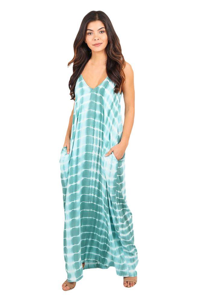 Chicloth Mint Tie Dye Print Boho Pocketed Maxi Dress