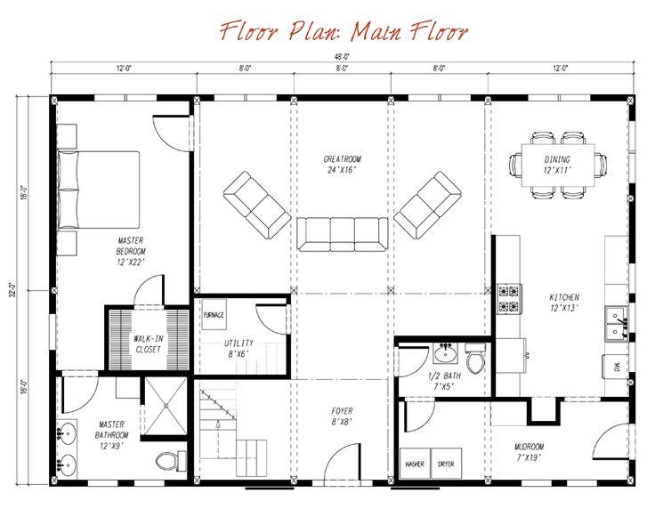 Pre-designed Barn Home Main Floor Plan Layout