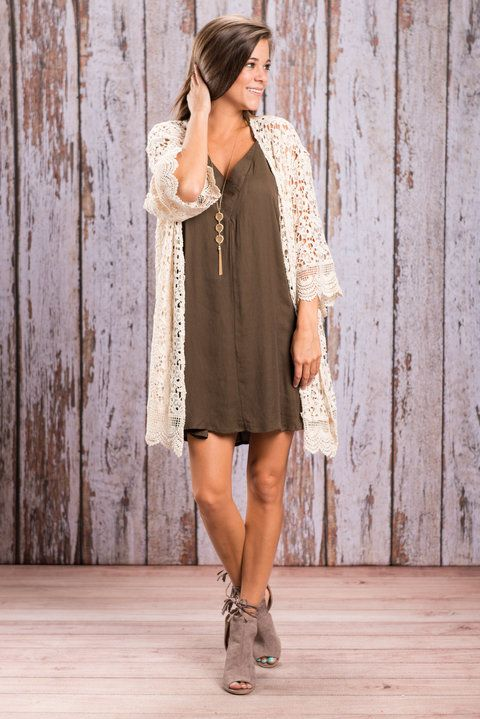 This crochet cardi will have you fall ready in no time!! It's natural color makes it a dream to pair with so much of your fall wardrobe! You are going to love finding something new to wear it with all the time! We love that not only is this cardi solid crochet we also love that it's 100% cotton!