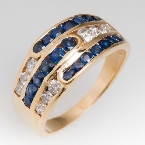Round Channel Set Diamond and Sapphire Band Ring 14K