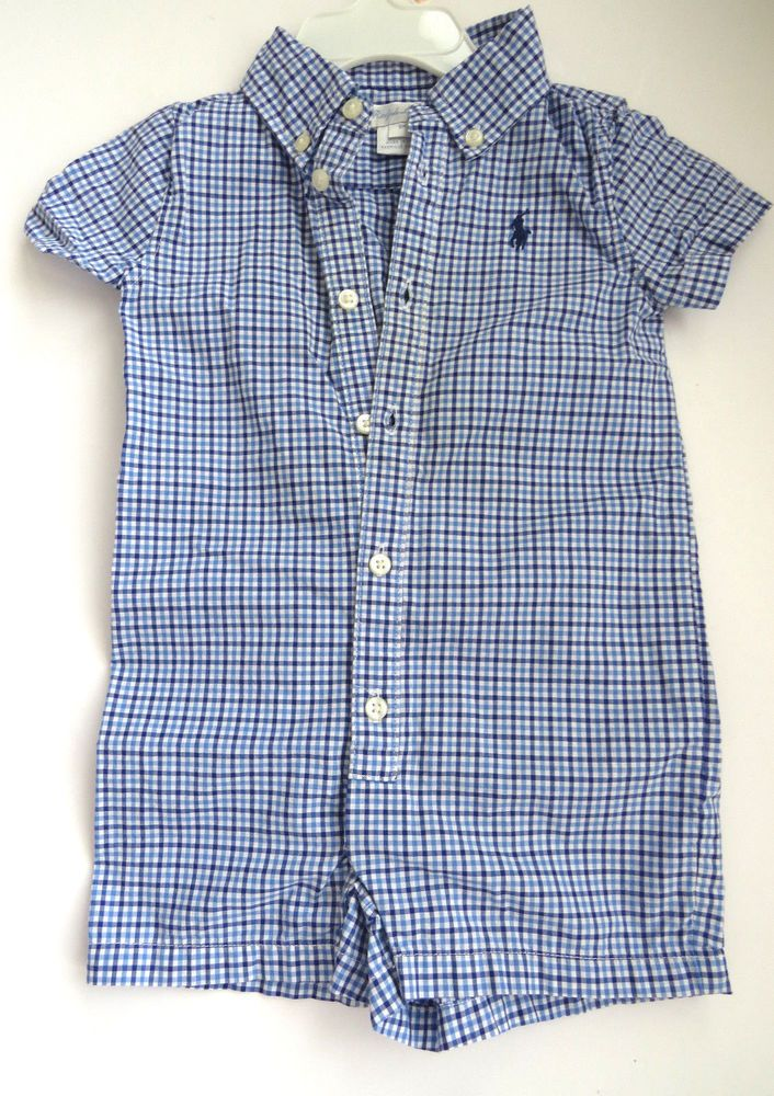 f770ab49f Size 9 Months - RALPH LAUREN Baby Boy Blue Check Button Up One Piece ...