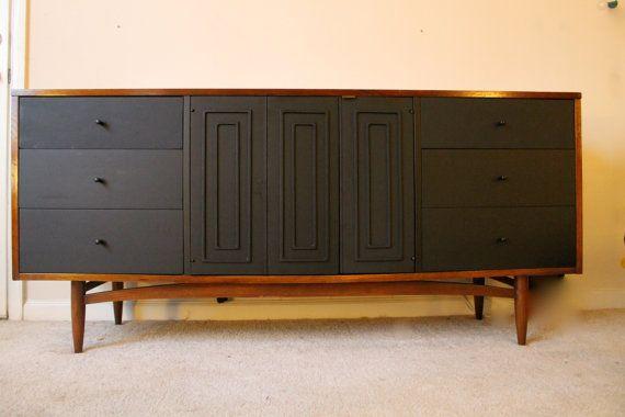 Reclaimed Mid Century Dresser Credenza Minimalist Black