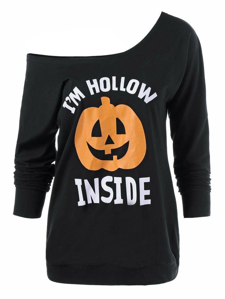 Pumpkin Lamp Pattern Skew Neck T-Shirt