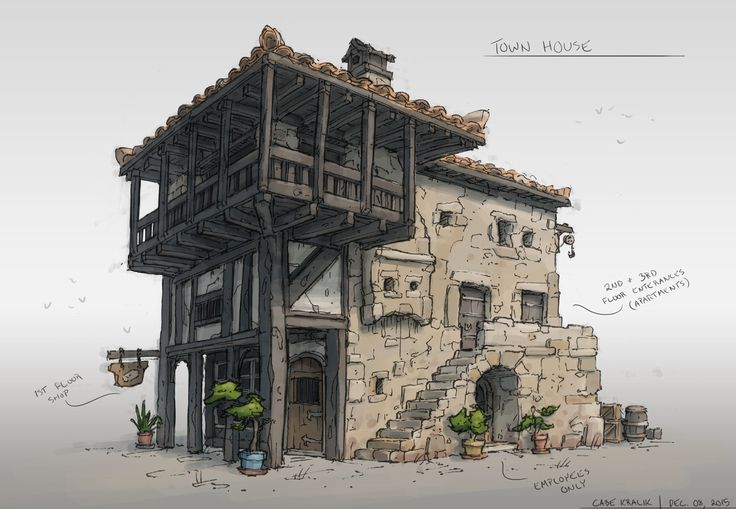 Town House, Gabe Kralik on ArtStation at https://www.artstation.com/artwork/OEvWK