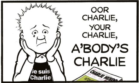The Sunday Post leads with Oor Wullie on its front page to show support for the fallen of Charlie Hebdo. Events will take place across the world today in a joint message of support for right to freedom of expression.