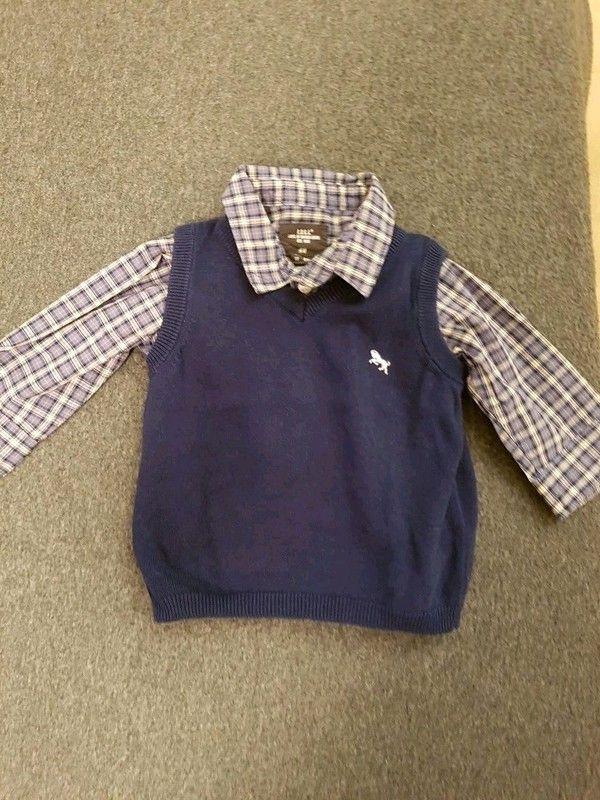 Kariertes Hemd und Pullunder Größe 68 H