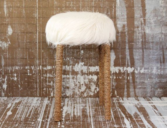 Natural Faux Fur Stool With Rope Wrapping ~ Mid Century Modern Rustic  Bohemian Style